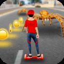 滑板竞速攻击蜘蛛